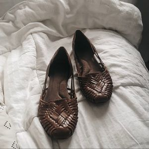Natural Soul Woven Leather Sandal Shoes SIZE 8